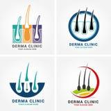 Hair care dermatology logo icon set with follicle medical diagnostics symbols. Alopecia treatment and transplantation concept. Vec. Tor illustration Stock Image