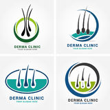 Hair care dermatology logo icon set with follicle medical diagnostics symbols. Alopecia treatment and transplantation concept. Vec. Tor illustration Royalty Free Stock Photo