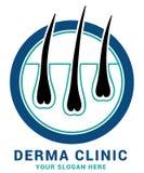 Hair care dermatology logo icon set with follicle medical diagnostics symbols. Alopecia treatment and transplantation concept. Vec Royalty Free Stock Image