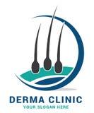 Hair care dermatology logo icon set with follicle medical diagnostics symbols. Alopecia treatment and transplantation concept. Vec Royalty Free Stock Photo
