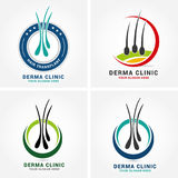 Hair care dermatology logo icon set with follicle medical diagnostics symbols. Alopecia treatment and transplantation concept. Vec Royalty Free Stock Photos