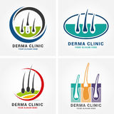 Hair care dermatology logo icon set with follicle medical diagnostics symbols. Alopecia treatment and transplantation concept. Vec. Tor illustration Stock Photos