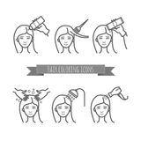 Hair care icons, coloring, treatment, styling Royalty Free Stock Photos