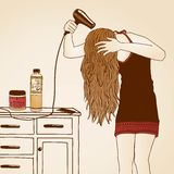 Hair care illustration. Drawing of a girl blow drying her hair stock illustration