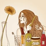 Hair care illustration Royalty Free Stock Photo