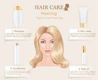 Hair care infographic. Vector Royalty Free Stock Photography