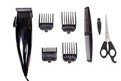 Hair Care Kit. With trimmer, isolated on white stock photos