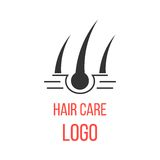 Hair care logo isolated on white background. Concept of scalp care or haircare, cosmetics and healthy lifestyle. modern vector illustration Stock Image