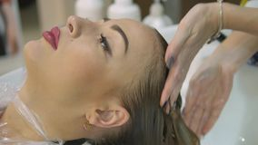 Hair care in the modern Spa. woman having hair washed by hairdresser in hair salon.Woman washing hair in a Spa.Spa stock video footage
