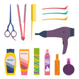 Hair care  set. Vector set of hairdresser professional tools and hair care products: scissors, tail comb, flat iron, hair setting clips, hairdryer, shampoo Royalty Free Stock Photo