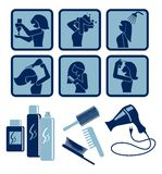 Hair care. Set of vector icons Royalty Free Stock Photos