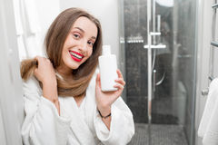 Hair care with shampoo or conditioner Stock Photo