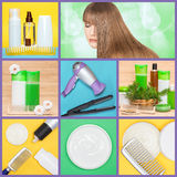 Hair care and styling products and implements collage Stock Photos