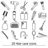 Hair care theme black simple outline icons set eps10 Royalty Free Stock Images