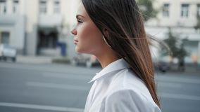 Hair care therapy peaceful teen girl walking stock footage