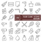 Hair care thin line icon set, beauty symbols collection, vector sketches, logo illustrations, cosmetics signs linear. Pictograms package isolated on white royalty free illustration