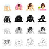 Hair care, washing and drying. The girl dries hair with a hairdryer set collection icons in cartoon black monochrome Royalty Free Stock Image