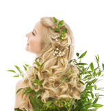 Hair Care, Woman Long Hair and Organic Leaves, Model Rear View. Over White background royalty free stock photo