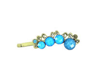 Hair Clip. Blue Hair Clip Vintage Style royalty free stock image