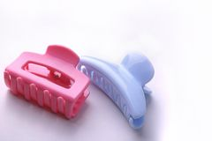 Hair Clip - Red and Blue Stock Photos