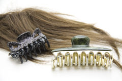 Hair clip with wig. Plastic hair clip with wig Stock Photos