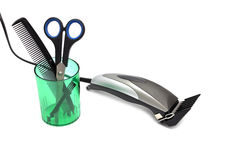 Hair clipper, comb and scissors stock photography