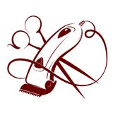 Hair clipper and scissors. Symbol for hairdresser vector illustration