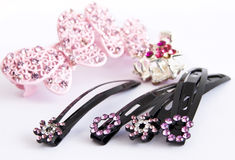 Hair clips. Isolated on white royalty free stock images