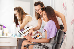 Hair Color Swatches. Picking Hair Color. Stock Photos