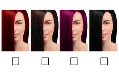 Hair color table with a smiling girl Royalty Free Stock Photo