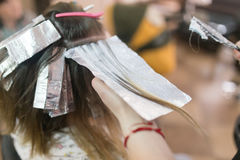Hair coloring girl in the beauty salon Royalty Free Stock Photos