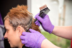 Hair coloring. A hairdresser coloring hair of a woman. Selective focus Royalty Free Stock Photos