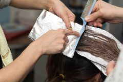 Hair coloring in the salon. Photos in the studio Stock Photo