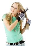 Hair combing teenager girl Stock Photo