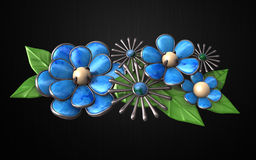 Hair combs (Group Flower) Silver, green and blue Stock Photography