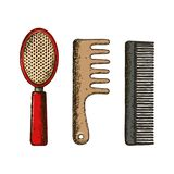 Hair combs illustration Royalty Free Stock Photos
