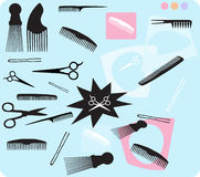 Hair Combs Scissors. Selection of hair combs. Over 15 design elements including scissors, combs, afro picks, bobby pins and more royalty free illustration