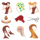 Hair_cosmetic_icon_set. Set of hair cosmetic and  hair stylist icons. Vector illustration Stock Image