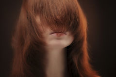 Hair covering female face Stock Images