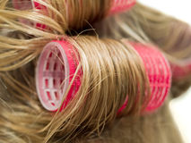 Hair Curlers. A close-up of red curlers in blond hair royalty free stock photos