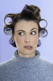 Hair-curlers victim Stock Images