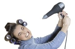 Hair-curlers victim Royalty Free Stock Images