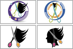 Hair cut logo collection. Illustration art of a hair cut logo collection with  background Stock Images