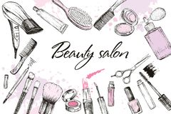 Hair cut, manicure, makeup, hair coloring, hairdressing, styling professional beauty tools stock photography