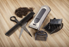 Hair Cutting equipment. Clipper, comb and scissors - Hair Cutting equipment royalty free stock photos