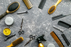 Hair cutting preparation with hairdresser tools on desk background top view mockup. Hair cutting preparation with hairdresser working tools on gray desk stock photography