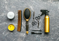 Hair cutting preparation with hairdresser tools on desk background top view mockup. Hair cutting preparation with hairdresser working tools on gray desk stock images