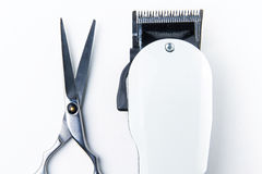 Hair cutting scissors and hair clippers for hairdressers Stock Photography