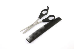 Hair cutting shears and comb Royalty Free Stock Photo
