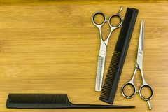 Hair cutting shears and comb Royalty Free Stock Image